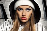Fashion portrait of beautiful hip-hop woman