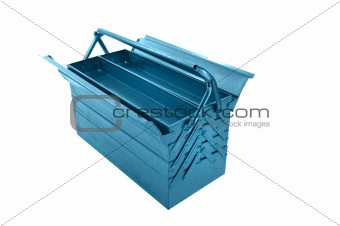 metal tool box on white