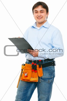 Portrait of construction worker with clipboard