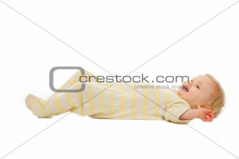 Adorable baby laying on floor isolated on white