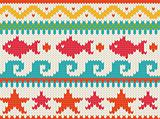 Seamless knitted beach pattern