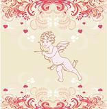 happy valentine's day card with cupid