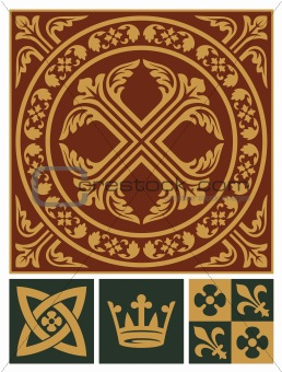 Middle ages ornament set