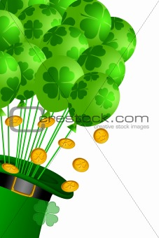 Leprechaun Hat with Shamrock Balloons and Gold Coins