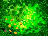Shamrock Four Leaf Clover Background with Balloons