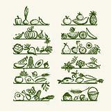 Healthy food on shelves, sketch for your design