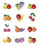 Funny fruits smiling together for your design