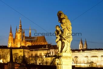 prague - religious art on charles bridge and hradcany castle