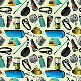 Camping seamless pattern
