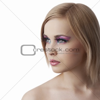 beauty girl looking sideways  with full color make up