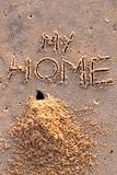 Crab hole and a pile of sand with words my home