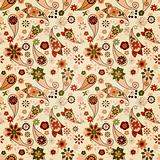 vector seamless spring  pattern with paisley elements and flower