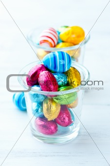 Small, foil-wrapped chocolate easter eggs