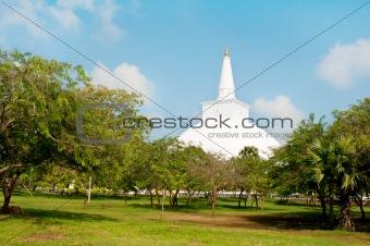 Buddhist white stupa