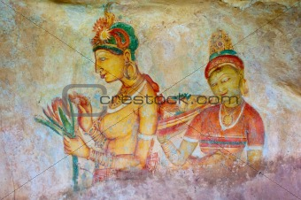 Antique asian fresco with naked woman