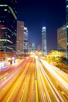traffic in downtown in hong kong at night