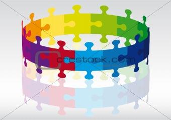 3d puzzle circle, vector