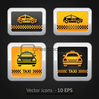 Taxi cab set buttons on background pixel