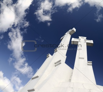 Crosses on the sky background