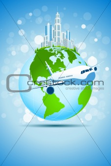 Business Background with Modern City Earth and Aircraft