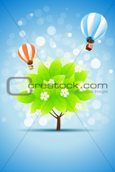 Blue Background with Green Tree and Hot Air Balloons