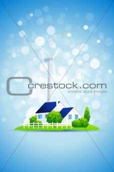 Blue Background with Country House and Power Station