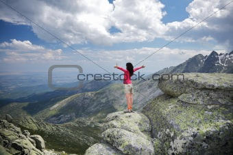 side embracing woman at the top