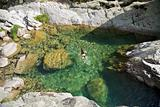 swimming at a natural pool