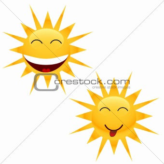 Two cheerful sun