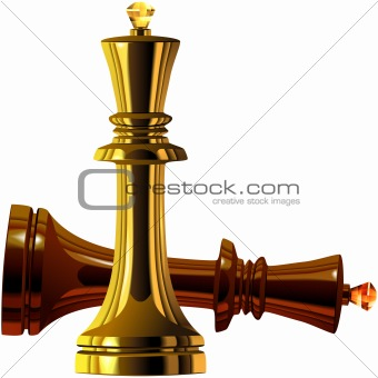 vector of the chess victory of white over black king