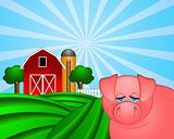 Pig on Green Pasture with Red Barn with Grain Silo 