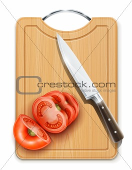 tomato cuted segment with knife on hardboard