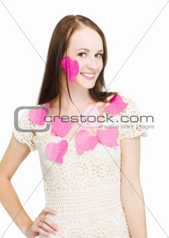 Woman Wearing Love Heart Notes