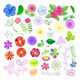 Set of Flower Elements. Floral Vector Illustration