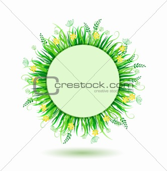 Beautiful Green Round Frame. Vector Illustration of Grass in Circle Isolated on white Background