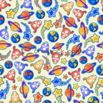 Cosmic Doodle Seamless Pattern with Planets and Space Ships on Light Background. Vector