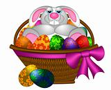 Cute Easter Bunny Rabbit Laying in Egg Basket Illustration