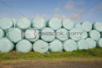 Stacks of bales of hay