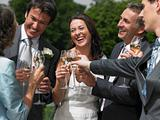 Wedding party toasting