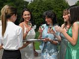 The bride and female wedding guests