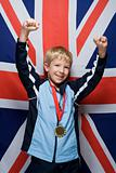Boy wearing a medal