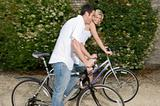 A couple cycling