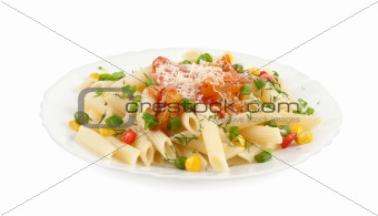 Rigatoni pasta with vegetables