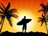 Surfer silhouette