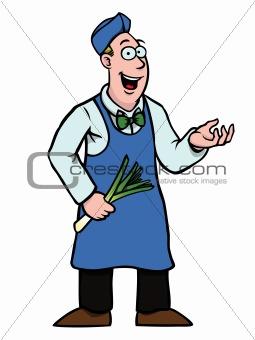 Greengrocer showing something