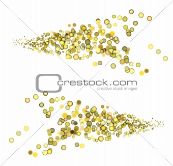 3d render strings of floating balls in multiple yellow