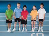 Children on running track