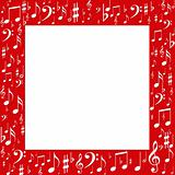 Red frame, white music notes