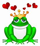 Cute Green Frog with Crown Illustration