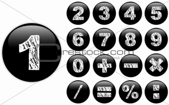 Alphabet Chalk Numbers in shiny Black Buttons